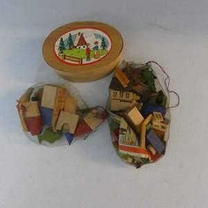 Lot #43 Vintage (c. 1950's) German Wooden Block Villages - LOTS of Pieces