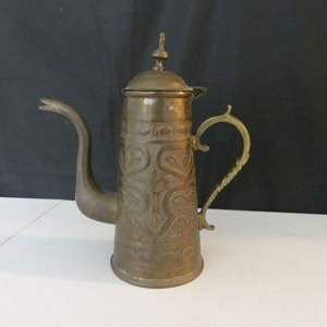 Lot #45 Vintage (Possibly Antique) Moroccan Brass Coffee Pot - Beautiful Hand Carved Detail