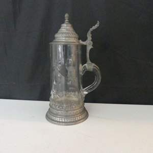 Lot #47 Exquisite Pressed/Cut Glass Stein with Intricate (Possibly Pewter) Base and Lid - Unable to decipher etched mark