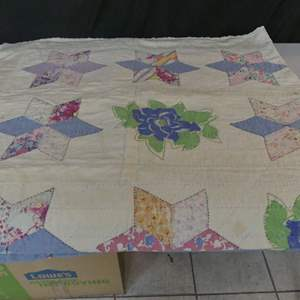 """Lot #50 Vintage Hand Stitched Star Quilt - Made in New England - Approx. 74"""" x 64"""""""