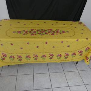 """Lot #53 Vintage 100% Cotton Tablecloth Made in France - Bright Yellow/Fuchsia Floral Print - 96"""" x 60"""""""