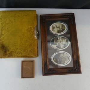 Lot #54 Antique Photo Album, Carved 3-Photo Frame and Framed Metal Photograph Plate (See Description)