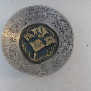 Lot #55 Recycled Arts Festival Original: Decorated Aluminum Bowl with Ceramic Relief