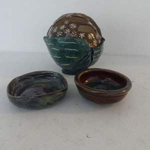 Lot #56 Hand Made Pottery by LH: Planter, Bowl and Dish