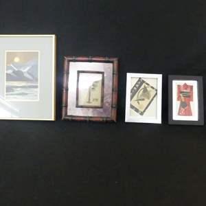 Lot #57 Oriental Art including 3D Licuala Grandis Botanical Palm, Kimono and Origami Crane