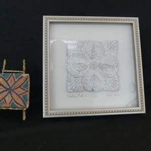 Lot #59 Replica Tile I circa 1870 Shadow Box and Hand Painted Clay/Terra Cotta Tile