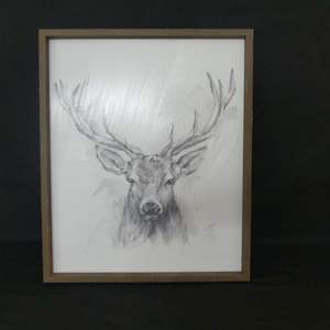 """Lot #64 Large Framed Stag Charcoal Drawing - 20"""" x 24"""""""