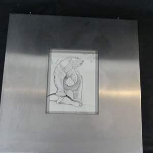 Lot #66 Ocala Artist Dorothy Mills Whitaker (1925-2000) Signed/Framed Bear Drawing