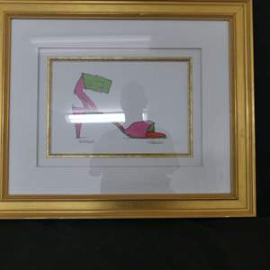 """Lot #70 Framed/Nicely Matted """"Jezabelle"""" Hot Pink/Lime Green Ankle Sandal Drawing - Unable to Identify Signature"""
