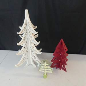 Lot #90 3 Wooden Tabletop Christmas Trees