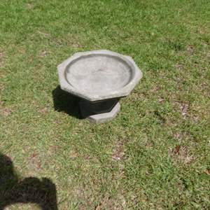 Lot #105 Low Cement Bird Bath