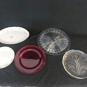 """Lot #109 Trays & Platters including Orrefors Sweden """"Eden"""" 12"""" Round Platter (See Description)"""