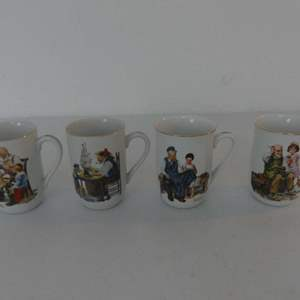 Lot #110 Set of 4 Norman Rockwell Gold Trimmed Cups