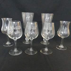 Lot #112 Lot of 7 Glasses: 2 Qualcomm Pilsner Glasses w/Golf Ball Stem; 2 Hurricane Wine Glasses and 3 Wine Glasses-Blackstock