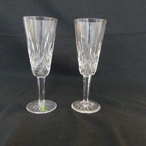 """Lot #113 Waterford Crystal """"Lismore"""" - Pair of Champagne Flutes - 7"""" Tall"""