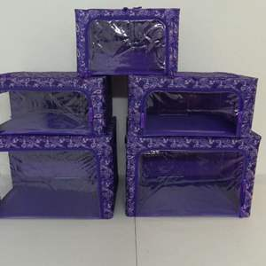 Lot #115 Pereia Set of 5 Collapsible Storage Boxes in Purple Paisley Pattern