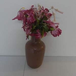 "Lot #119 Large Brownish Mauve Floor Vase with Beautiful Silk Arrangement - Vase Stands 20"" Tall"