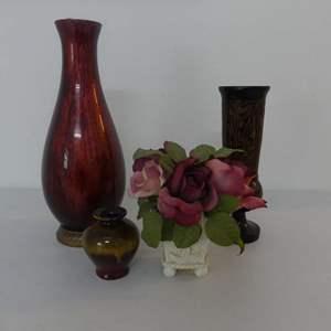 Lot #120 Lot of 4 Vases including Carved Wooden Pedestal Vase