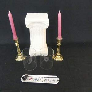 Lot #122 Pair of Gallery Originals Brass Candle Holders, Candle Pillar and Wrought Iron Candle Snuffer