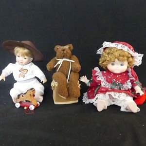Lot #132 Danbury Mint & Dolly Dingle Porcelain Dolls and Teddy Bear Music Box (See Description)