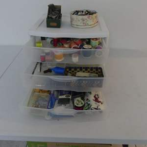 Lot #142 3 Drawers of Sewing Stuff including Button Collection in Floral Tin and LOTS of Singer Presser Feet