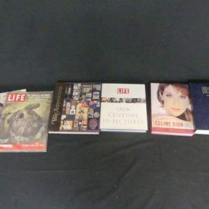 """Lot #148 Coffee Table Books, Dictionary and Vintage """"Life"""" Magazines (See Description)"""