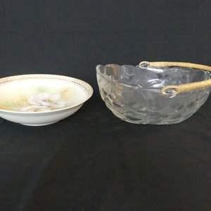 "Lot #149 Vintage Indiana Glass Oval Fruit Bowl with Rattan Handle & Reinhold Schlegelmilch 9"" Porcelain Bowl with Floral Design"