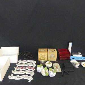 Lot #150 Very Misc. Lot  including Vintage Victorian-Style Night Light Shade and Chokin Collection St. Thomas Plate