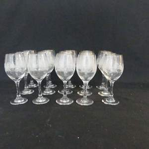 Lot #157 Vintage Arby's Etched Winter Scene Wine Glasses with Gold Trim - Set of 15