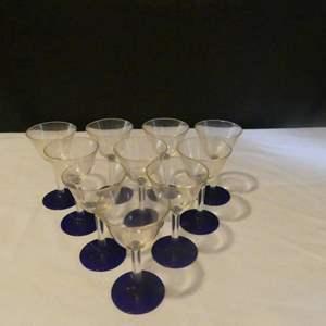 Lot #166 Set of 10 Cobalt Blue Base Stemmed Cordial Glasses