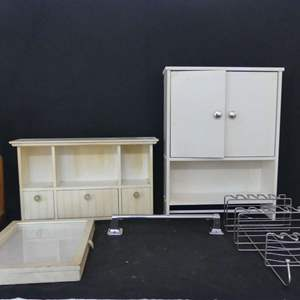 Lot #170 Bathroom Organizers: Mountable Cabinets, Towel Rack, Shower Caddy and More