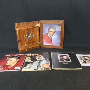Lot #174 Wooden Hinged Picture Frame/Clock with Photo of Elvis and Print Memorabilia