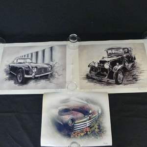 """Lot #175 Auto Art: 2 Signed Artists Proofs by Mike Plica and """"1947/48 Fall Foliage Ford"""" by Ron Long (See Description)"""