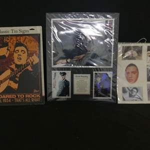 Lot #179 Classic Tin Signs Elvis He Dared to Rock and 2 Elvis Matted Photo Arrays