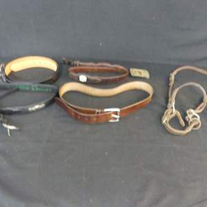 """Lot #182 Genuine Leather Belts: Sizes S, 36"""", L, 38-40"""", Belt Buckle and Bridle"""