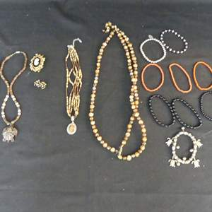 Lot #193 Costume Jewelry Necklaces, Braclets & Brooch/Earring Set