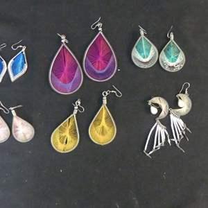 "Lot #197 6 Pair of Beautiful Hand Made ""String"" Earrings"