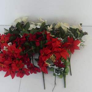 Lot #214 Lot of Holiday Floral Decorations