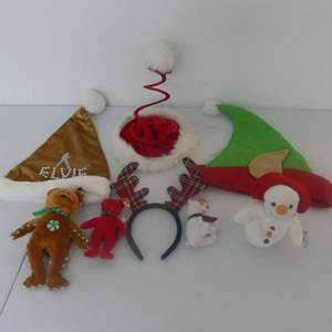 Lot #218 Lot of 4 Holiday Beanie Babies and Headwear/Decoration
