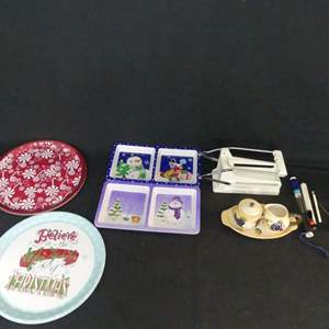 Lot #220 Holiday Serving Pieces and Other Goodies