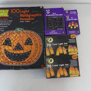 Lot #221 Halloween Lights including Totally Ghoul 100-Light Holographic Pumpkin