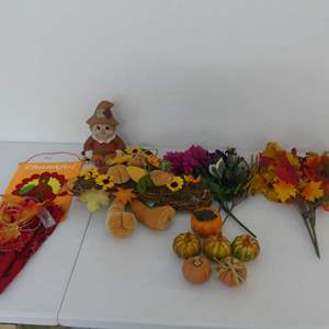 Lot #224 Fall/Thanksgiving Decor including Beautiful Fabric/Crocheted Lace Table Runner