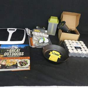 """Lot #229 Misc. Lot including Lodge 8"""" Cast Iron Frying Pan and Sunset """"The Great Outdoors Cookbook"""""""