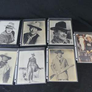 Lot #230 Autographed Roy Rogers Photo and John Wayne Photos including Signed (Larry Bees)/Framed Drawing