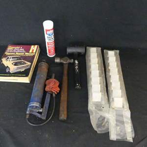 Lot #234 Chevy/GM Manuals, Grease Gun, Rubber Mallet, Ball Peen Hammer and Narrow Stainless Steel Louvered Vents