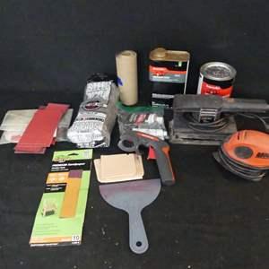 Lot #235 Black + Decker Finishing Sander, Mouse Sander/Polisher and Body Repair Goodies