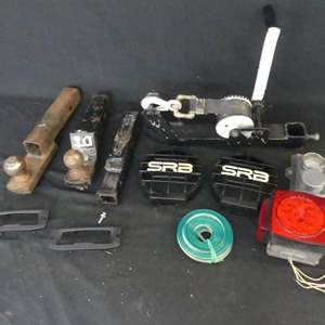 Lot #236 Trailer Gear including Hitch, Winch, Light Covers and Bearing Buddies