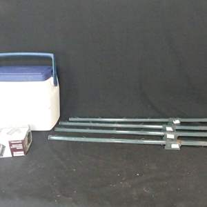 Lot #241 Fence Stakes, Sawhorse Brackets and Coleman Cooler