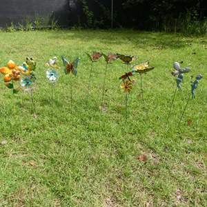 Lot #243 Frogs, Butterflies, Flowers and Fairies Lawn Stakes