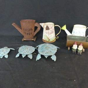 Lot #245 Watering Cans and Lawn Decor
